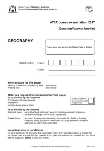 atar exam geography